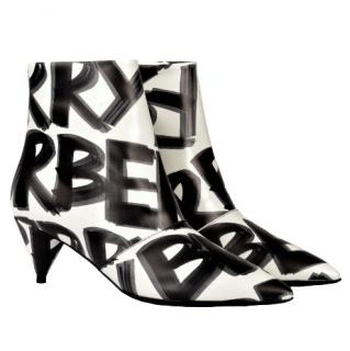 Burberry Graffiti-print leather ankle boots