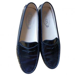 Tods Navy Patent Leather Loafers