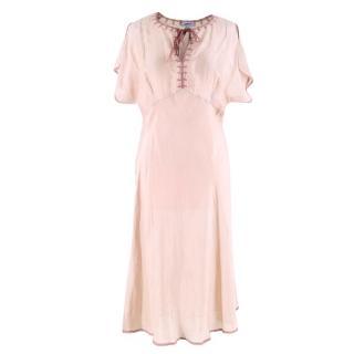 Liberty Beige Embroidered Silk Dress