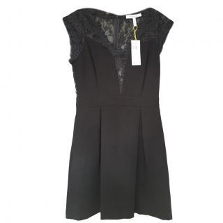 BCBG lace-insert black dress