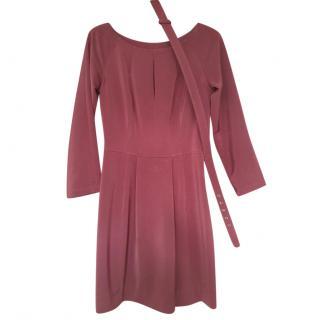 Moschino belted burgundy dress