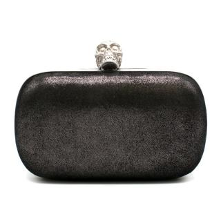 Alexander McQueen Black Metallic Suede Box Clutch
