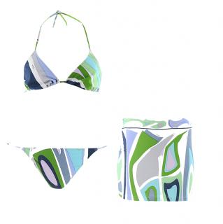 Emilio Pucci Multi-Coloured Printed Bikini & Skirt Set
