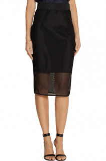 Milly Black Mesh Pencil Skirt