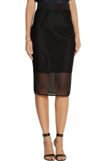 Milly Black Mesh Pencil Skirt