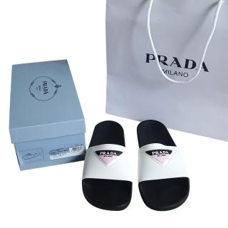 Prada logo embossed slides
