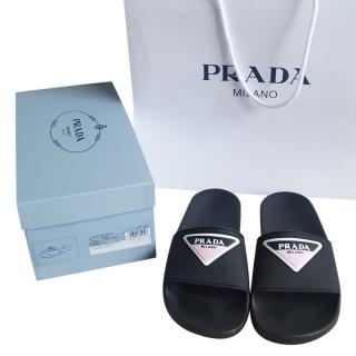 Prada Black Logo Embossed Slides