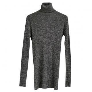 Prada Grey & Gold Lurex Ribbed Sweater