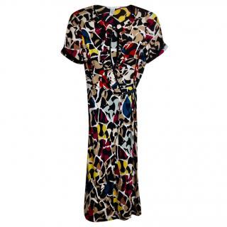 Diane von Furstenberg abstract-print silk wrap dress