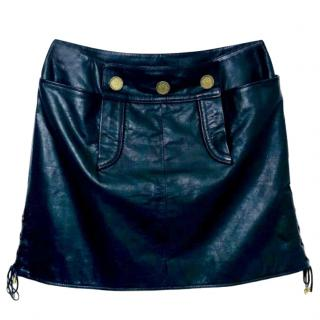 Chanel Paris Moscow Leather Mini Skirt