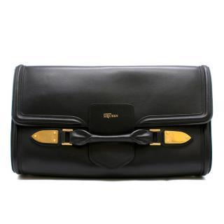 Alexander McQueen Black Leather Large Clutch