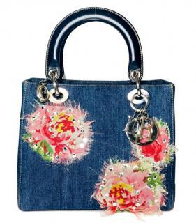 Christian Dior Lady Dior floral-applique denim bag