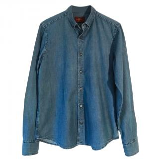 7 For All Mankind mid blue cotton soft denim shirt