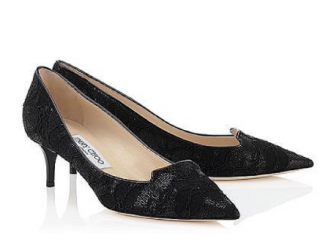 Jimmy Choo Allure Lace Kitten Heel Pumps
