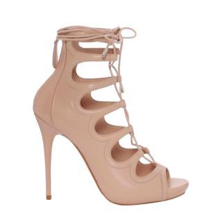 14d344ba80a4 Alexander McQueen Nude Lace-up Sandals