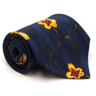 Boss by Hugo Boss Navy Floral Print Silk Tie
