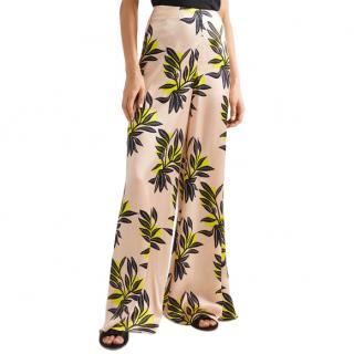 Roksanda Bohri Floral Print Silk-Satin Wide Leg Pants