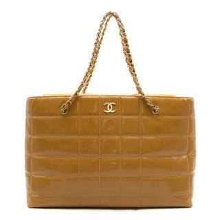 Chanel Caramel Quilted Patent Leather Shoulder Bag