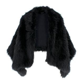 Dries Van Noten Black Faux Fur Cape