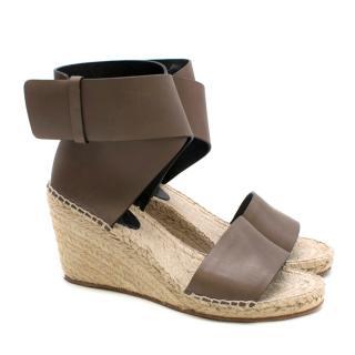 Celine Leather Espadrille Wedge Sandals