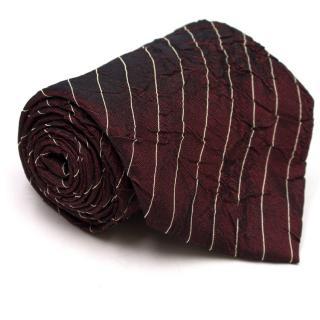 Boss by Hugo Boss Burgundy Textured Striped Tie