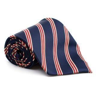 Rene Chagal Navy Striped Silk Tie