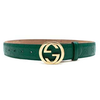 Gucci Green Embossed GG Leather Belt