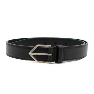 Saint Laurent Black Triangle Buckle Leather Belt