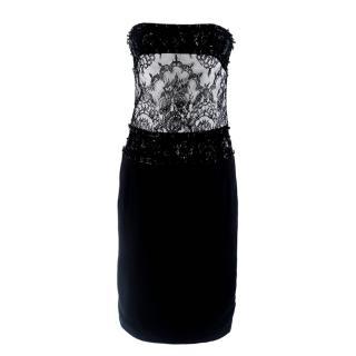 Tomasz Starzewski Black Embellished Strapless Dress
