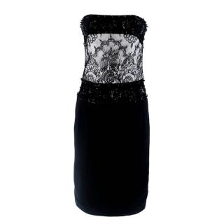 Tomasz Starzewski Black Embellished Strapless Dress
