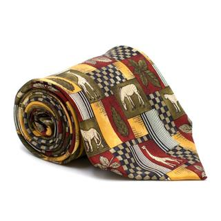 Dunhill Leaf and Animal Print Silk Tie
