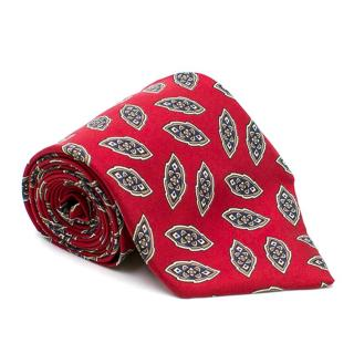 Christian Dior Red Patterned Print Silk Tie