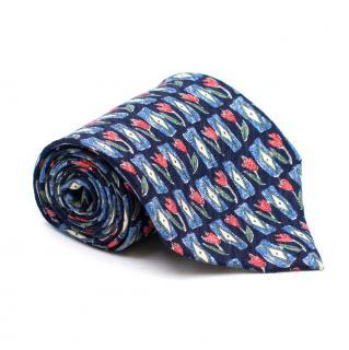 Goldlion Floral Print Silk Tie
