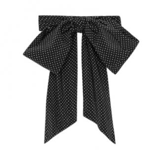 Saint Laurent Lavaliere in Micro Polka Dot Ivory and Black Silk