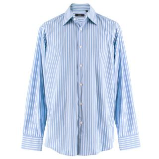 Boss by Hugo Boss White and Blue Striped Shirt