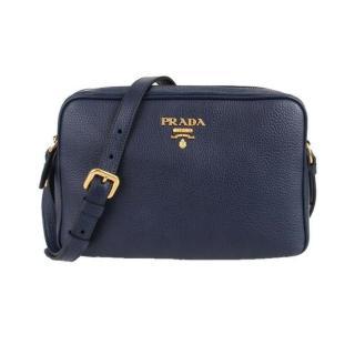 Prada Navy Blue Vitello Leather mini Crossbody