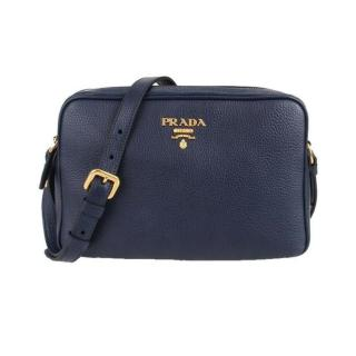 Prada Navy Blue Vitello Leather mini Crossbody