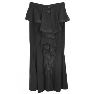 Givenchy x Riccardo Tisci AW15 Black Crepe Frill Ruffle Front Skirt