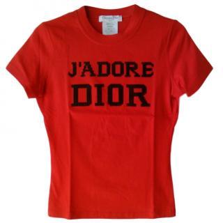 Christan Dior Red Crystal Embellished J'adore Print