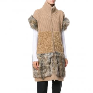 Stella McCartney Faux Fur Multi Knit Short Sleeve Coat New
