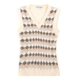 Baby Graziella Beige Patterned Sleeveless Wool Jumper