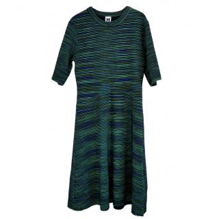 M Missoni Green, Navy & Black Textured Knit Fit & Flare Dress