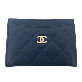 Chanel Blue Lambskin Leather Card Holder