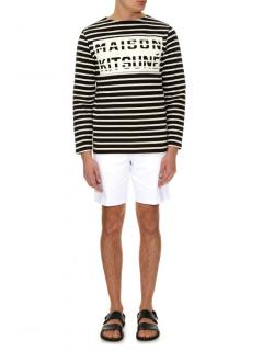 MAISON KITSUNE Marin nautical black & cream cotton sweatshirt