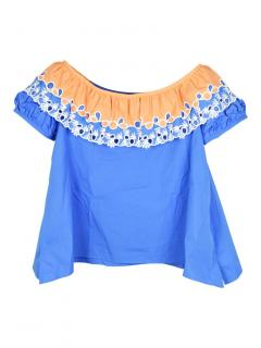 Peter Pilotto embroidered off-the-shoulder short sleeve top