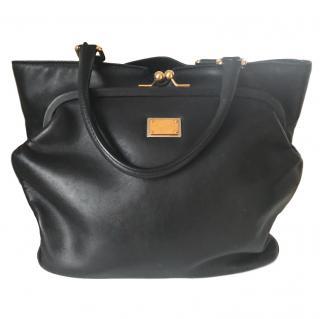 Dolce & Gabbana black leather tote bag