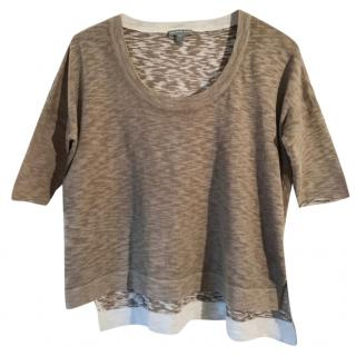 James Perse cotton reversible taupe marl box T shirt