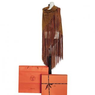 Hermes brown cashmere shawl,scarf,stole,cape with leather fringe