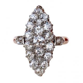 Vintage 18ct Rose Gold 2 Carat Diamond Navette Ring