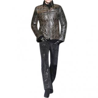 Roberto Cavalli real Python Snake Skin Leather Tattoo Jacket